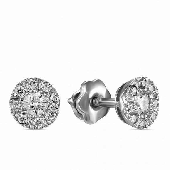 Серьги c бриллиантами, артикул E77-E15589, Золото 585, - купить в интернет-магазине Московский ювелирный завод