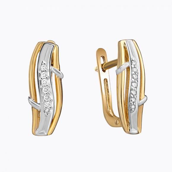 Серьги c бриллиантами, артикул E01-33709, Золото 585, - купить в интернет-магазине Московский ювелирный завод